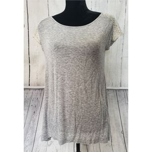 Decree Heather Gray Flowy Blouse with Knit back
